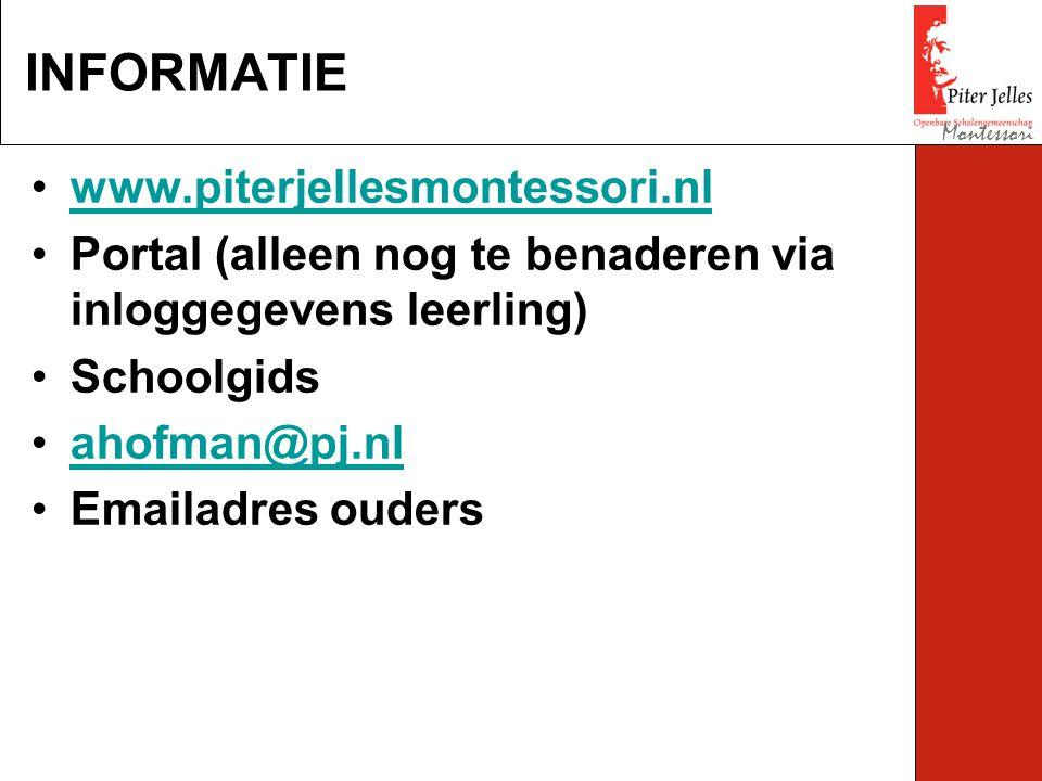 www.piterjellesmontessori.nl Portal (alleen nog te benaderen via inloggegevens leerling) Schoolgids ahofman@pj.nl Emailadres ouders INFORMATIE Montessori