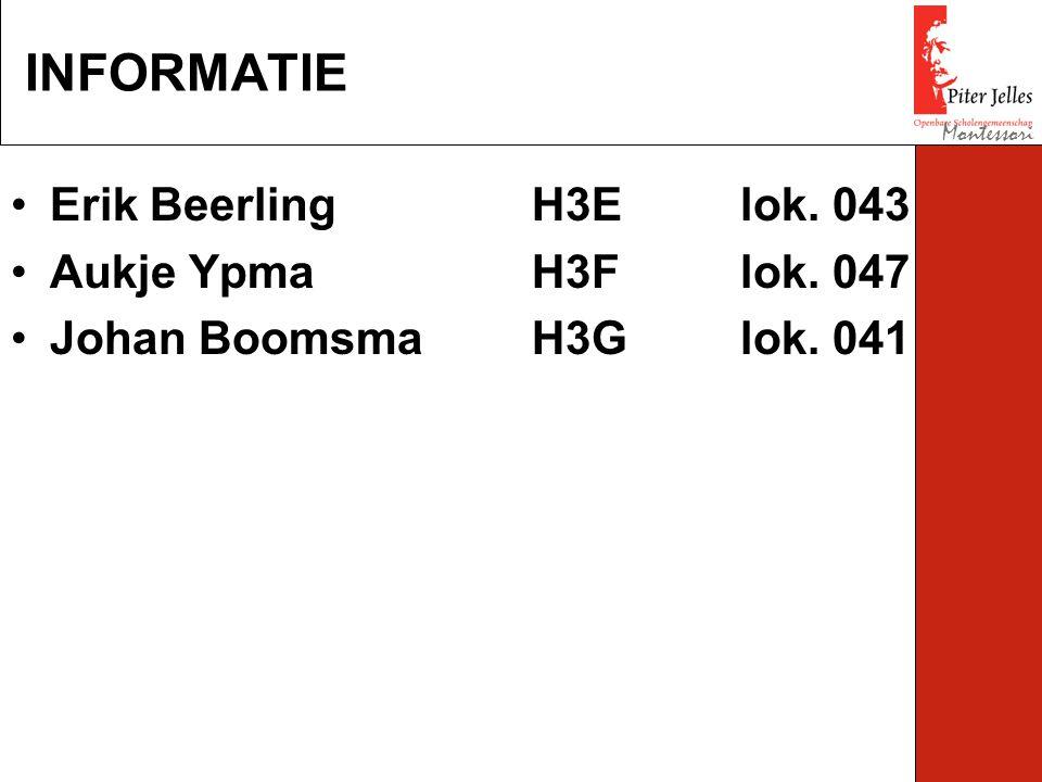 Erik BeerlingH3Elok. 043 Aukje YpmaH3Flok. 047 Johan BoomsmaH3Glok. 041 INFORMATIE Montessori