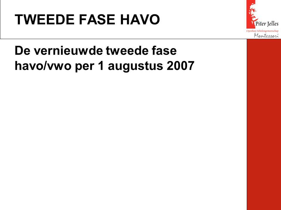 TWEEDE FASE HAVO Montessori De vernieuwde tweede fase havo/vwo per 1 augustus 2007