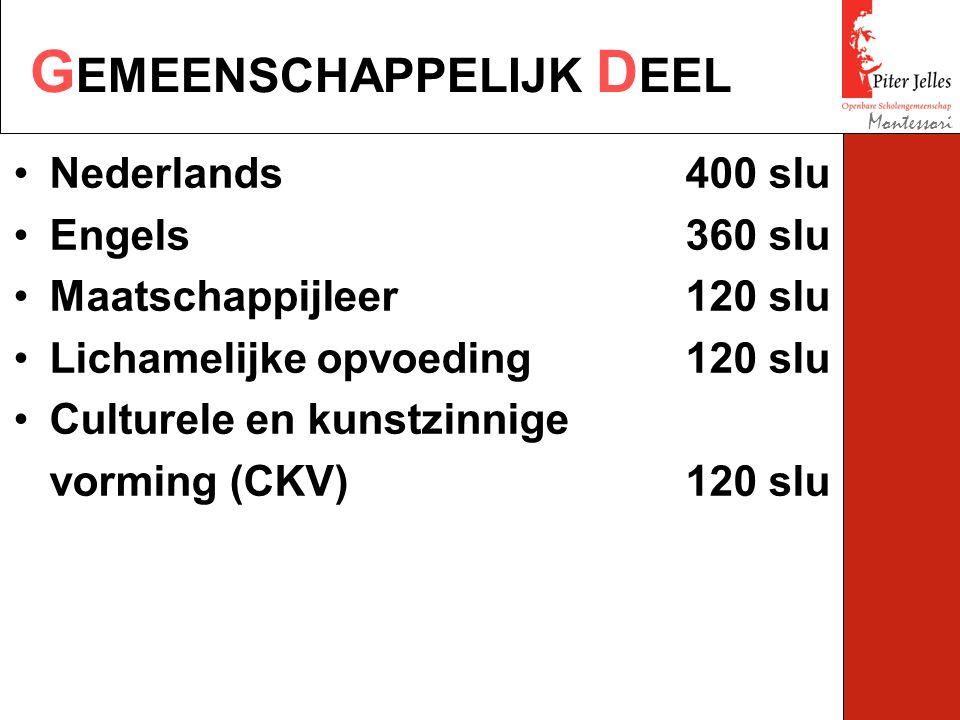 G EMEENSCHAPPELIJK D EEL Montessori Nederlands400 slu Engels360 slu Maatschappijleer120 slu Lichamelijke opvoeding120 slu Culturele en kunstzinnige vorming (CKV)120 slu