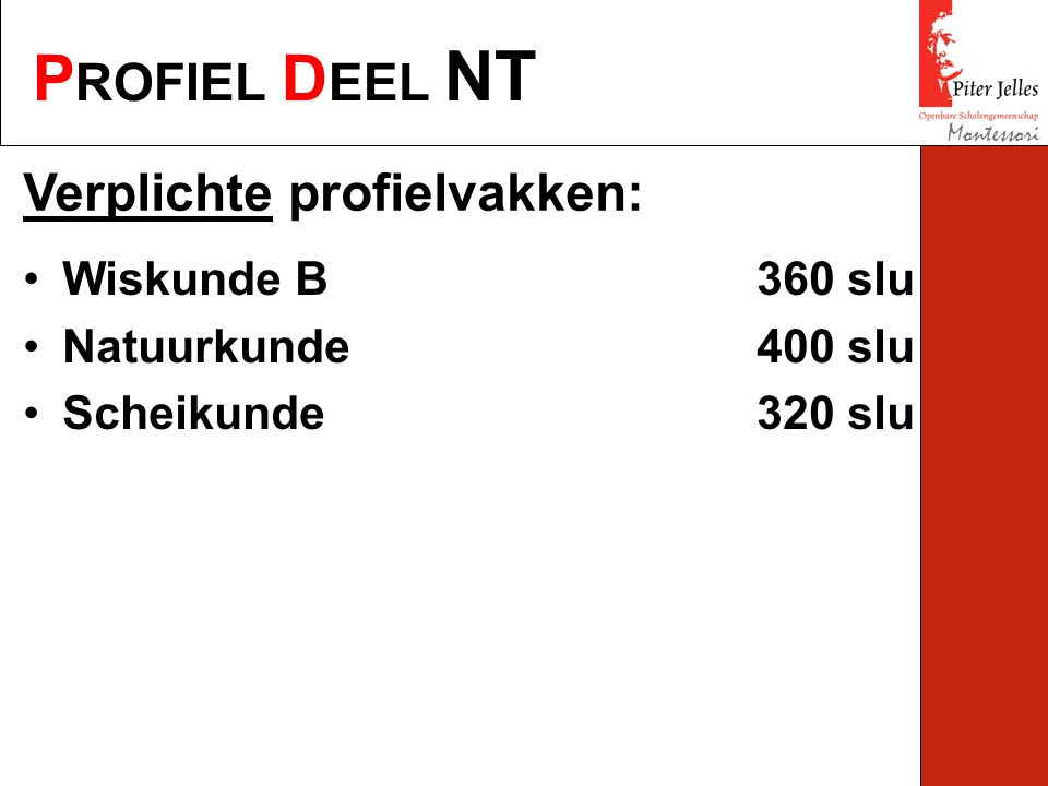 P ROFIEL D EEL NT Montessori Verplichte profielvakken: Wiskunde B360 slu Natuurkunde400 slu Scheikunde320 slu