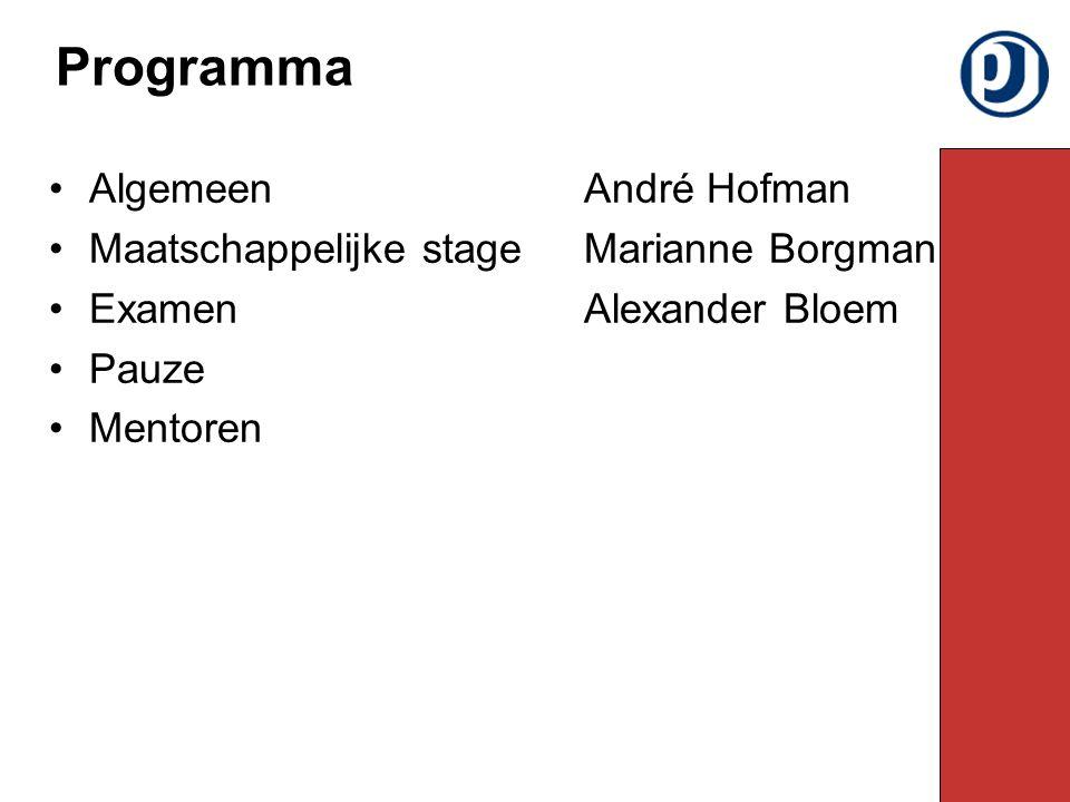 AlgemeenAndré Hofman Maatschappelijke stageMarianne Borgman ExamenAlexander Bloem Pauze Mentoren Programma