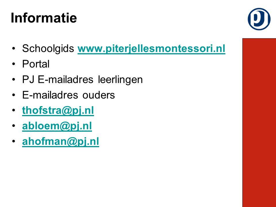 Schoolgids www.piterjellesmontessori.nlwww.piterjellesmontessori.nl Portal PJ E-mailadres leerlingen E-mailadres ouders thofstra@pj.nl abloem@pj.nl ahofman@pj.nl Informatie