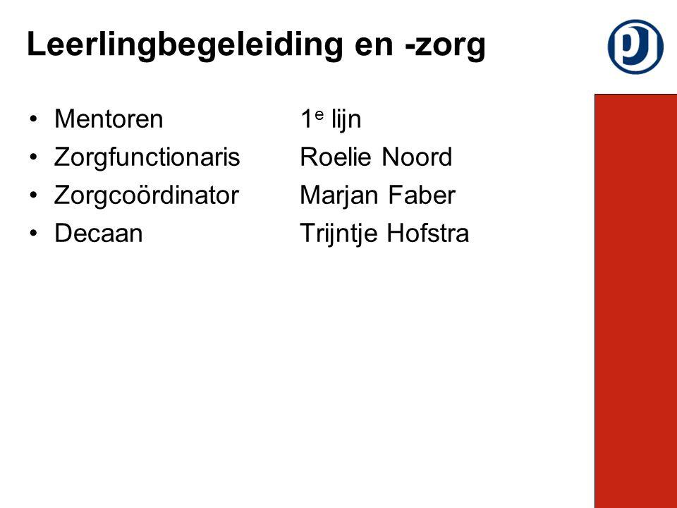 Mentoren1 e lijn ZorgfunctionarisRoelie Noord ZorgcoördinatorMarjan Faber DecaanTrijntje Hofstra Leerlingbegeleiding en -zorg