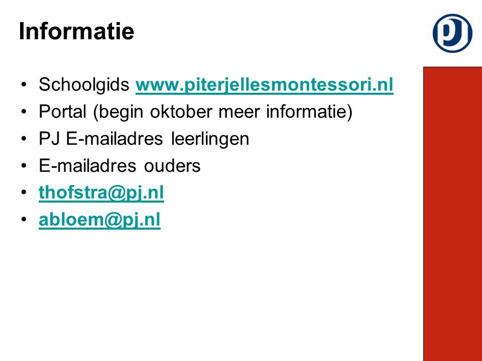 Schoolgids www.piterjellesmontessori.nlwww.piterjellesmontessori.nl Portal (begin oktober meer informatie) PJ E-mailadres leerlingen E-mailadres ouders thofstra@pj.nl abloem@pj.nl Informatie