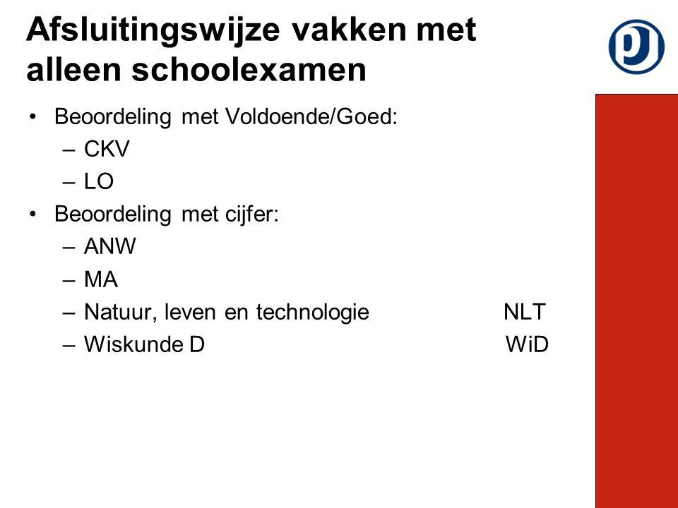 Beoordeling met Voldoende/Goed: –CKV –LO Beoordeling met cijfer: –ANW –MA –Natuur, leven en technologieNLT –Wiskunde D WiD Afsluitingswijze vakken met alleen schoolexamen
