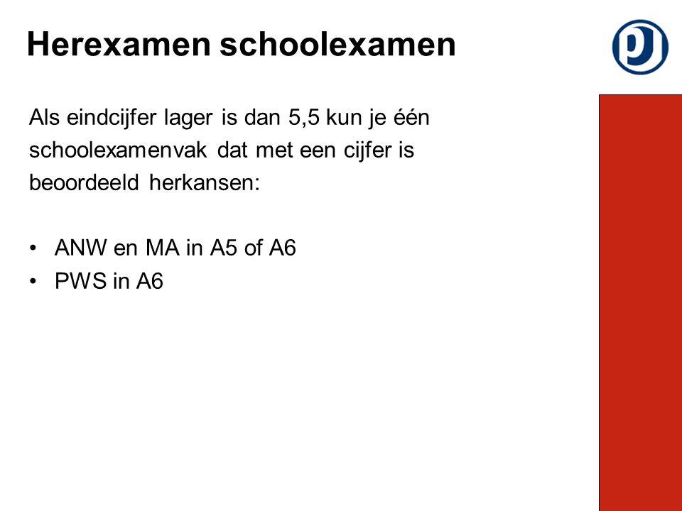 Als eindcijfer lager is dan 5,5 kun je één schoolexamenvak dat met een cijfer is beoordeeld herkansen: ANW en MA in A5 of A6 PWS in A6 Herexamen schoolexamen