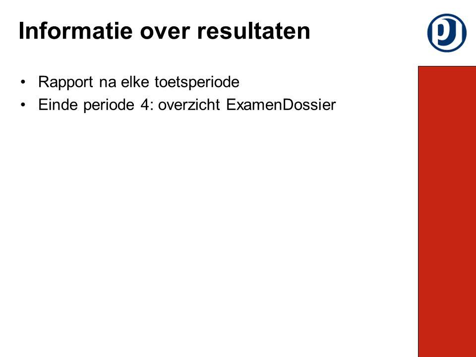Rapport na elke toetsperiode Einde periode 4: overzicht ExamenDossier Informatie over resultaten
