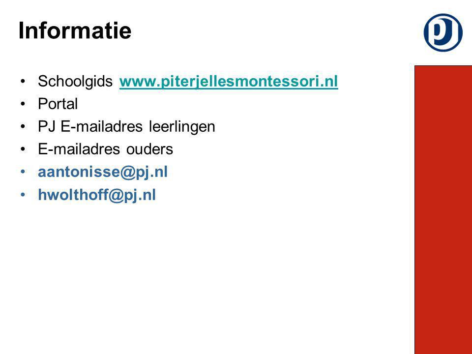 Schoolgids www.piterjellesmontessori.nlwww.piterjellesmontessori.nl Portal PJ E-mailadres leerlingen E-mailadres ouders aantonisse@pj.nl hwolthoff@pj.