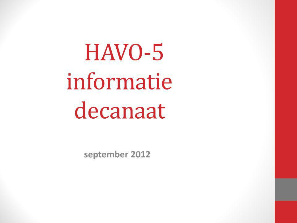 HAVO-5 informatie decanaat september 2012