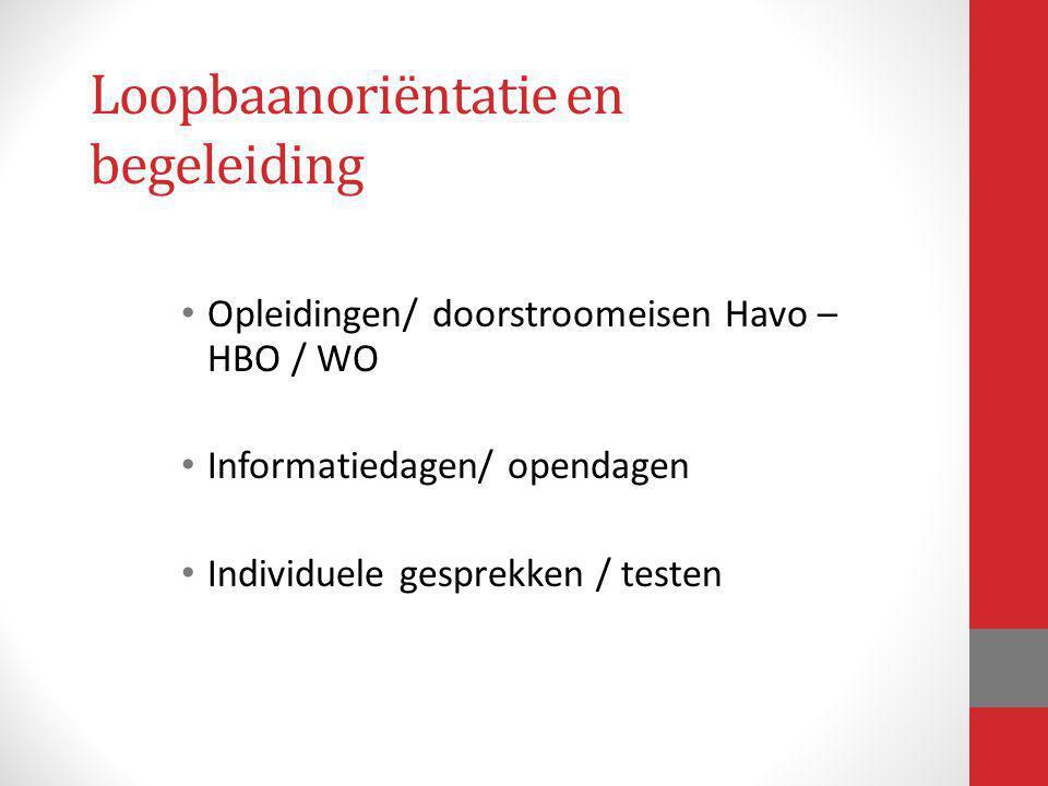 Loopbaanoriëntatie en begeleiding Opleidingen/ doorstroomeisen Havo – HBO / WO Informatiedagen/ opendagen Individuele gesprekken / testen