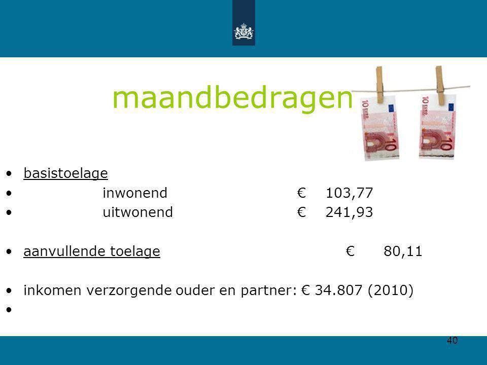 40 maandbedragen basistoelage inwonend€ 103,77 uitwonend€ 241,93 aanvullende toelage € 80,11 inkomen verzorgende ouder en partner: € 34.807 (2010)