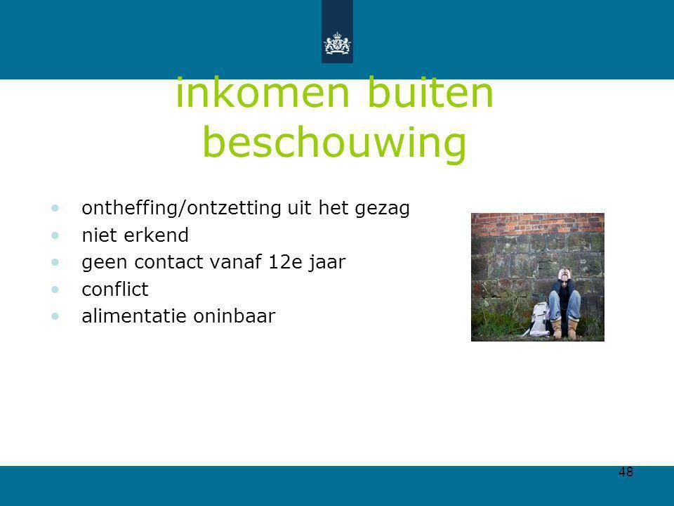 48 inkomen buiten beschouwing ontheffing/ontzetting uit het gezag niet erkend geen contact vanaf 12e jaar conflict alimentatie oninbaar