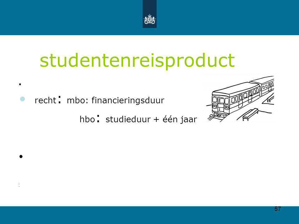 57 studentenreisproduct recht : mbo: financieringsduur hbo : studieduur + één jaar
