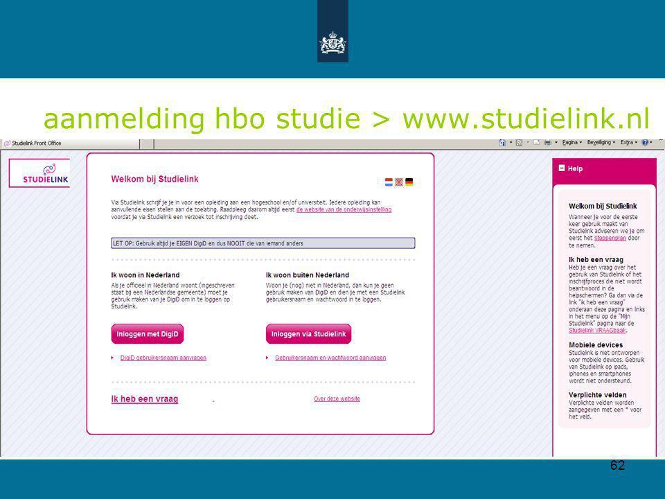 62 aanmelding hbo studie > www.studielink.nl