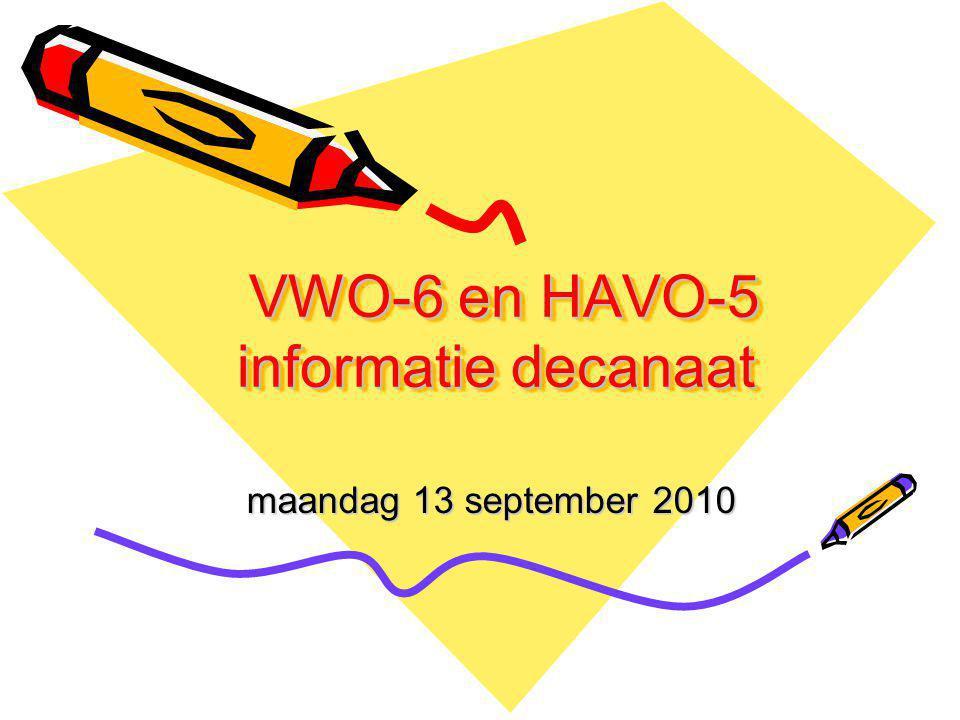 VWO-6 en HAVO-5 informatie decanaat VWO-6 en HAVO-5 informatie decanaat maandag 13 september 2010