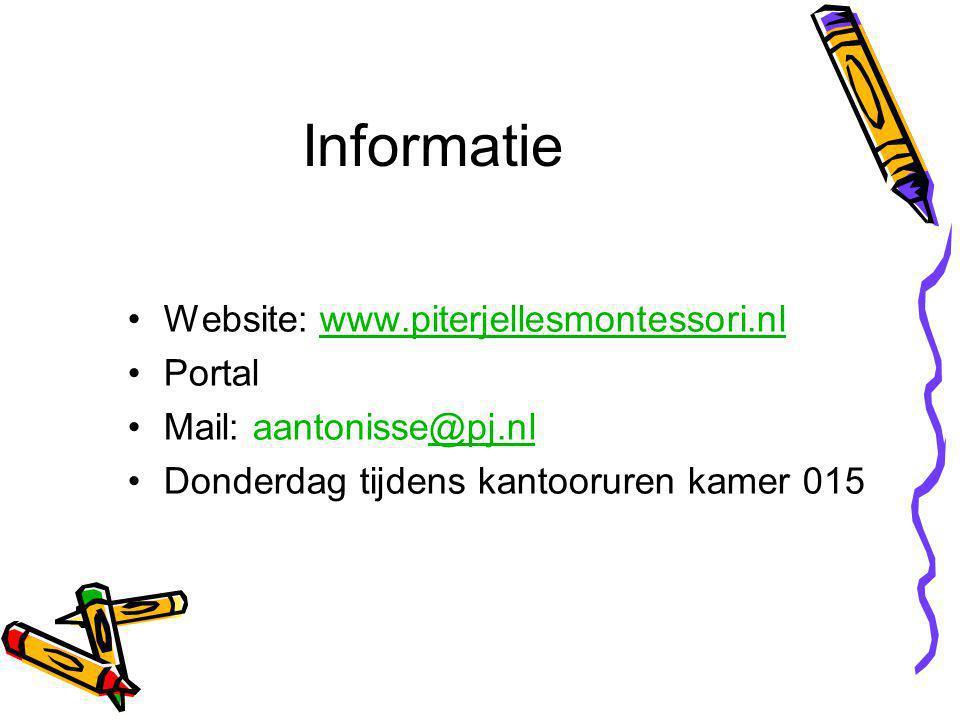 Informatie Website: www.piterjellesmontessori.nlwww.piterjellesmontessori.nl Portal Mail: aantonisse@pj.nl@pj.nl Donderdag tijdens kantooruren kamer 015