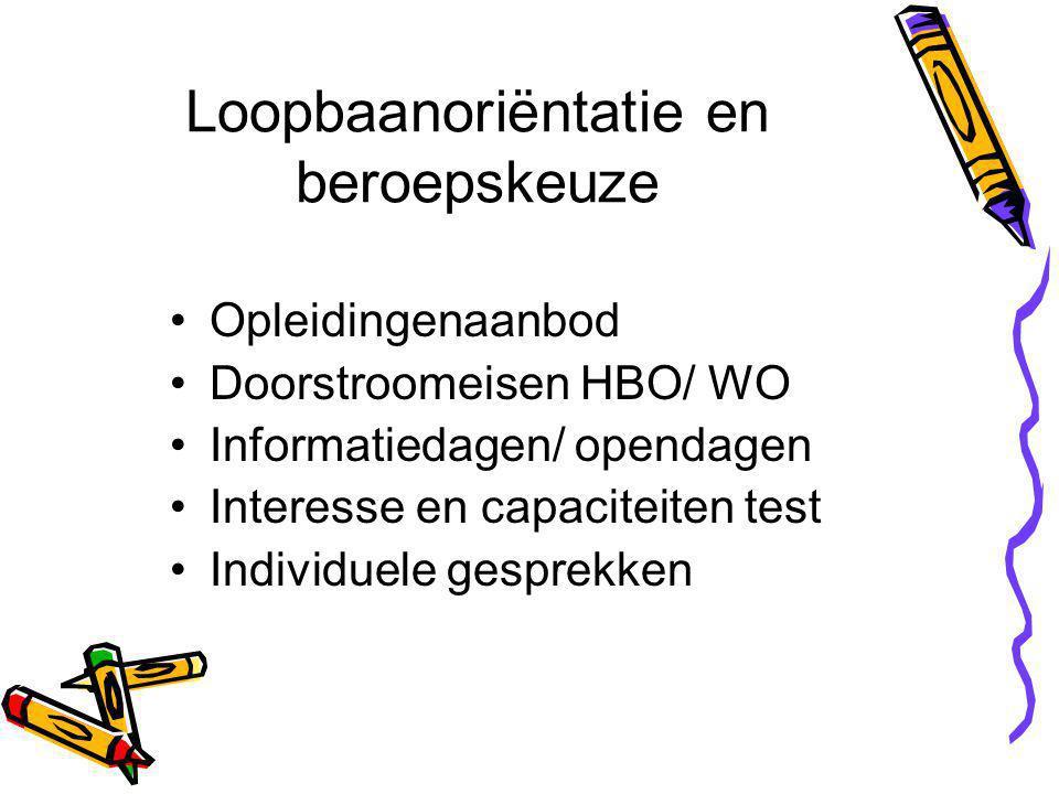 Loopbaanoriëntatie en beroepskeuze Opleidingenaanbod Doorstroomeisen HBO/ WO Informatiedagen/ opendagen Interesse en capaciteiten test Individuele gesprekken