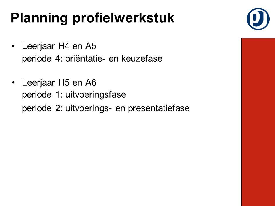 Leerjaar H4 en A5 periode 4: oriëntatie- en keuzefase Leerjaar H5 en A6 periode 1: uitvoeringsfase periode 2: uitvoerings- en presentatiefase Planning profielwerkstuk