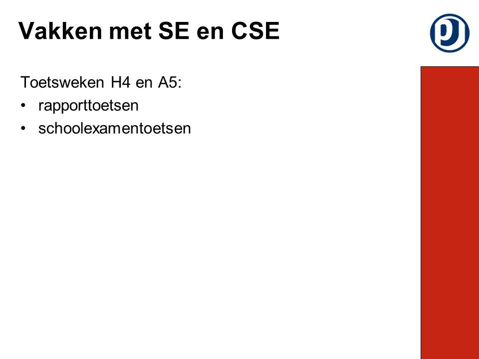 Toetsweken H4 en A5: rapporttoetsen schoolexamentoetsen Vakken met SE en CSE