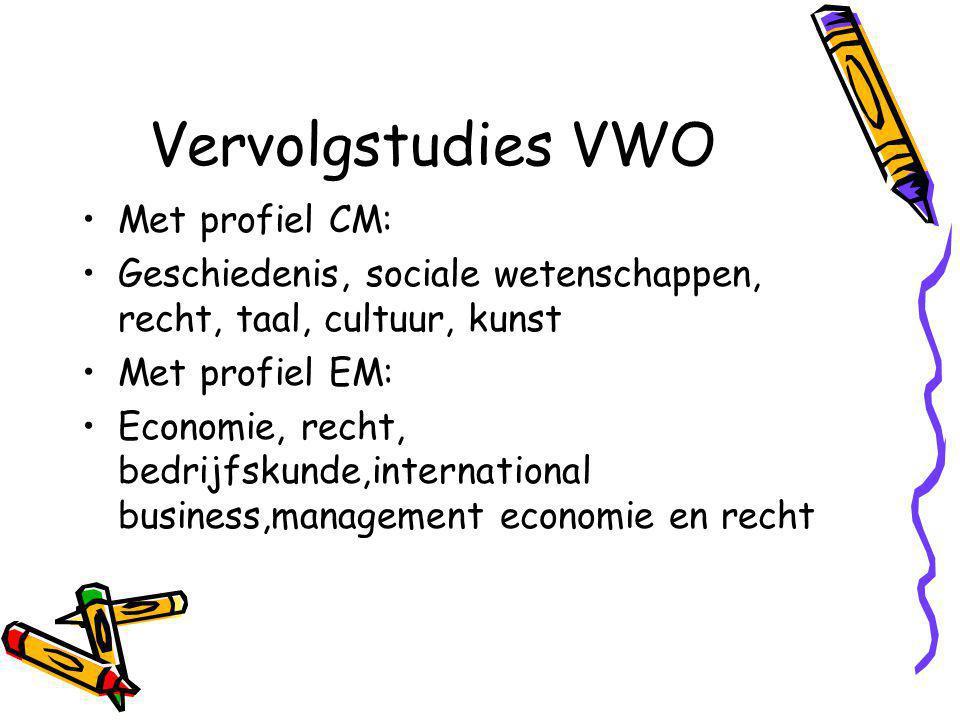Vervolgstudies VWO Met profiel CM: Geschiedenis, sociale wetenschappen, recht, taal, cultuur, kunst Met profiel EM: Economie, recht, bedrijfskunde,international business,management economie en recht