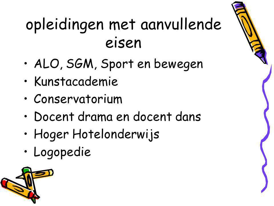 opleidingen met aanvullende eisen ALO, SGM, Sport en bewegen Kunstacademie Conservatorium Docent drama en docent dans Hoger Hotelonderwijs Logopedie