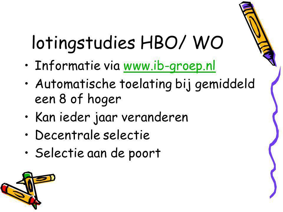 lotingstudies HBO/ WO Informatie via www.ib-groep.nlwww.ib-groep.nl Automatische toelating bij gemiddeld een 8 of hoger Kan ieder jaar veranderen Decentrale selectie Selectie aan de poort