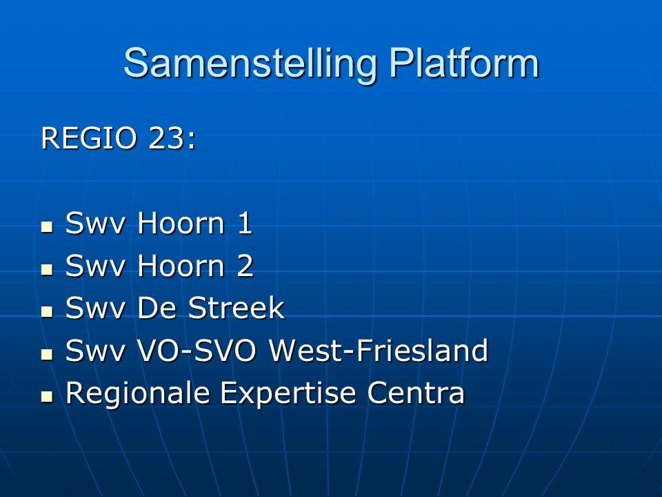Samenstelling Platform REGIO 23: Swv Hoorn 1 Swv Hoorn 1 Swv Hoorn 2 Swv Hoorn 2 Swv De Streek Swv De Streek Swv VO-SVO West-Friesland Swv VO-SVO West-Friesland Regionale Expertise Centra Regionale Expertise Centra