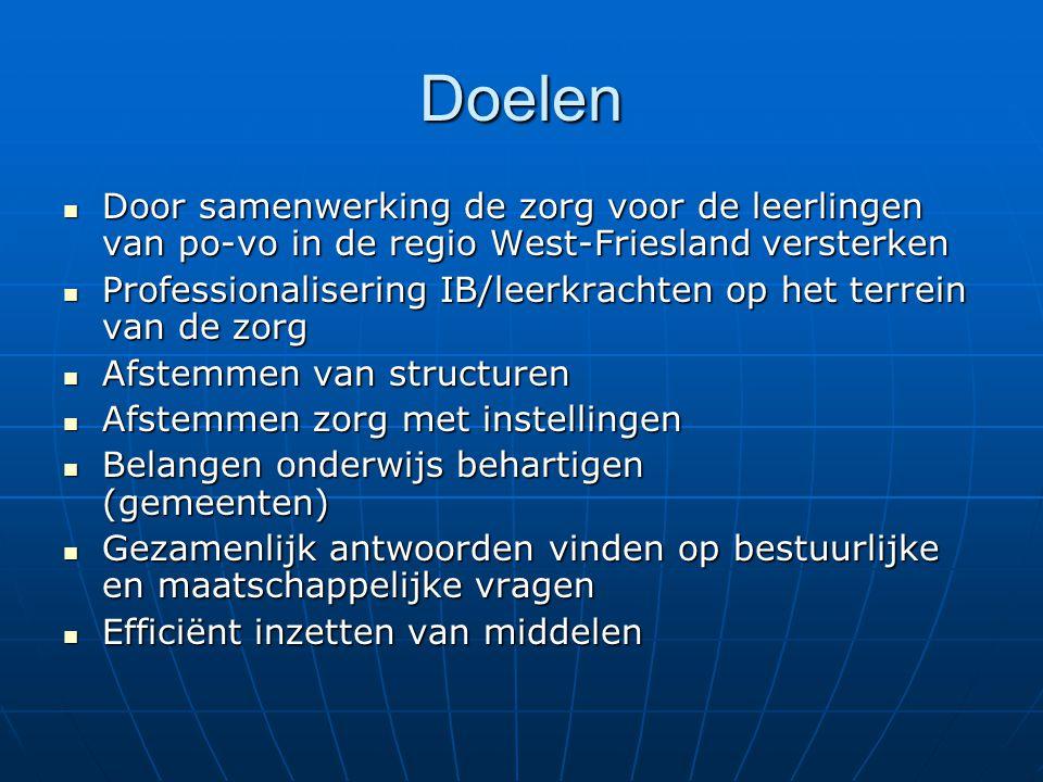 Doelen Door samenwerking de zorg voor de leerlingen van po-vo in de regio West-Friesland versterken Door samenwerking de zorg voor de leerlingen van po-vo in de regio West-Friesland versterken Professionalisering IB/leerkrachten op het terrein van de zorg Professionalisering IB/leerkrachten op het terrein van de zorg Afstemmen van structuren Afstemmen van structuren Afstemmen zorg met instellingen Afstemmen zorg met instellingen Belangen onderwijs behartigen (gemeenten) Belangen onderwijs behartigen (gemeenten) Gezamenlijk antwoorden vinden op bestuurlijke en maatschappelijke vragen Gezamenlijk antwoorden vinden op bestuurlijke en maatschappelijke vragen Efficiënt inzetten van middelen Efficiënt inzetten van middelen