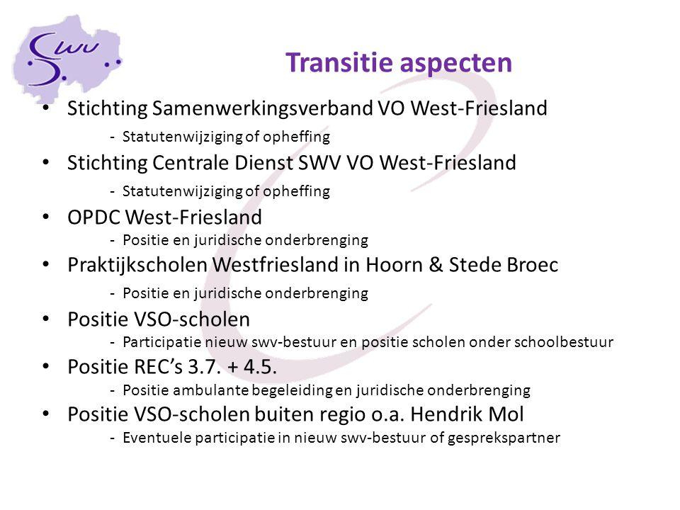 Transitie aspecten Stichting Samenwerkingsverband VO West-Friesland - Statutenwijziging of opheffing Stichting Centrale Dienst SWV VO West-Friesland -