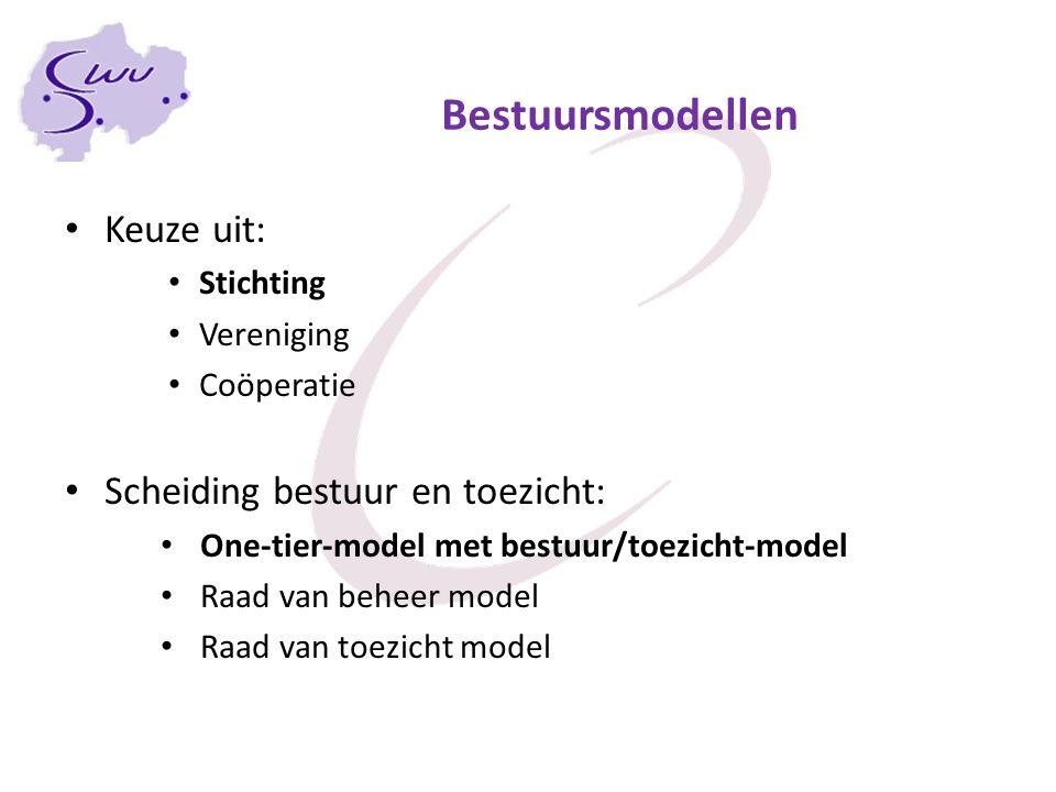 Bestuursmodellen Keuze uit: Stichting Vereniging Coöperatie Scheiding bestuur en toezicht: One-tier-model met bestuur/toezicht-model Raad van beheer m