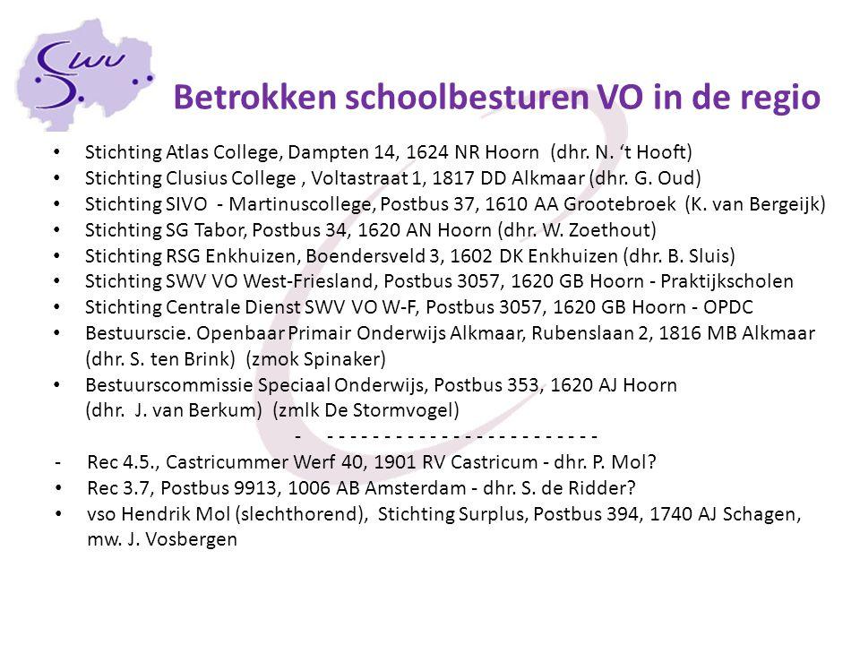 Betrokken schoolbesturen VO in de regio Stichting Atlas College, Dampten 14, 1624 NR Hoorn (dhr. N. 't Hooft) Stichting Clusius College, Voltastraat 1