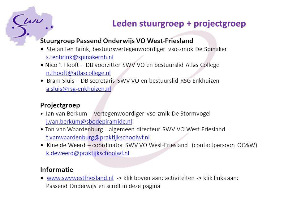 Stuurgroep Passend Onderwijs VO West-Friesland Stefan ten Brink, bestuursvertegenwoordiger vso-zmok De Spinaker s.tenbrink@spinakernh.nl Nico 't Hooft