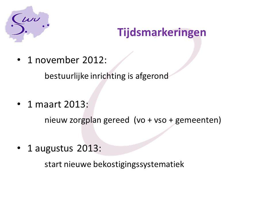 Tijdsmarkeringen 1 november 2012: bestuurlijke inrichting is afgerond 1 maart 2013: nieuw zorgplan gereed (vo + vso + gemeenten) 1 augustus 2013: star