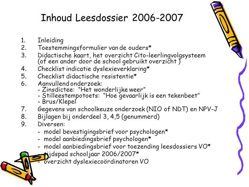 Inhoud Leesdossier 2006-2007 1.Inleiding 2.Toestemmingsformulier van de ouders* 3.Didactische kaart, het overzicht Cito-leerlingvolgsysteem (of een an