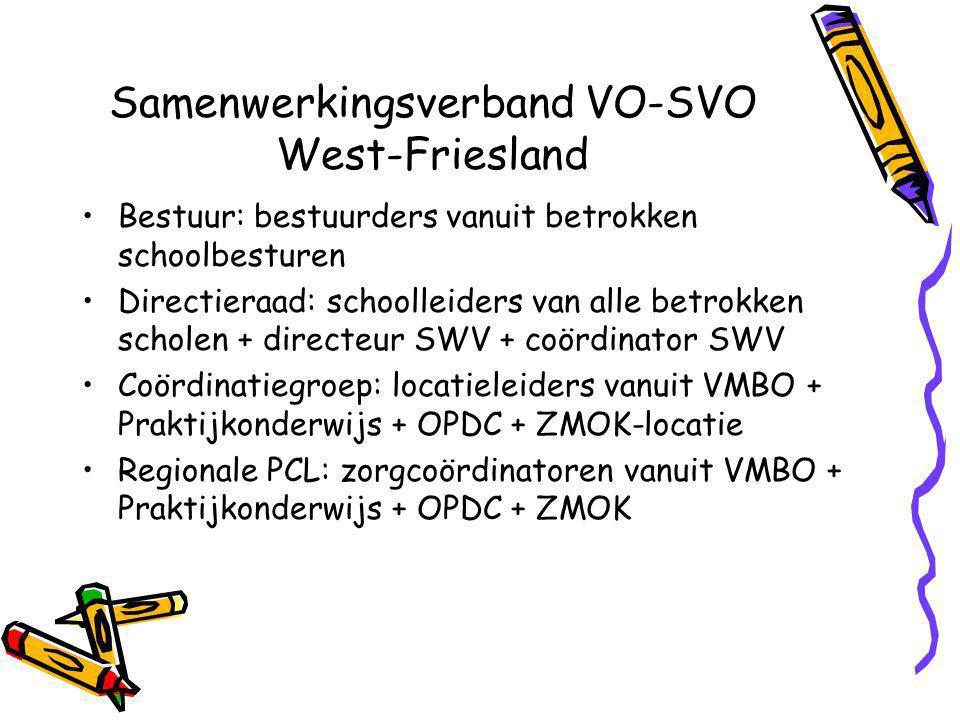 Samenwerkingsverband VO-SVO West-Friesland Bestuur: bestuurders vanuit betrokken schoolbesturen Directieraad: schoolleiders van alle betrokken scholen + directeur SWV + coördinator SWV Coördinatiegroep: locatieleiders vanuit VMBO + Praktijkonderwijs + OPDC + ZMOK-locatie Regionale PCL: zorgcoördinatoren vanuit VMBO + Praktijkonderwijs + OPDC + ZMOK