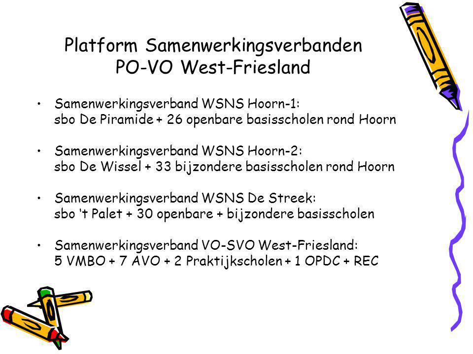 Platform Samenwerkingsverbanden PO-VO West-Friesland Samenwerkingsverband WSNS Hoorn-1: sbo De Piramide + 26 openbare basisscholen rond Hoorn Samenwerkingsverband WSNS Hoorn-2: sbo De Wissel + 33 bijzondere basisscholen rond Hoorn Samenwerkingsverband WSNS De Streek: sbo 't Palet + 30 openbare + bijzondere basisscholen Samenwerkingsverband VO-SVO West-Friesland: 5 VMBO + 7 AVO + 2 Praktijkscholen + 1 OPDC + REC