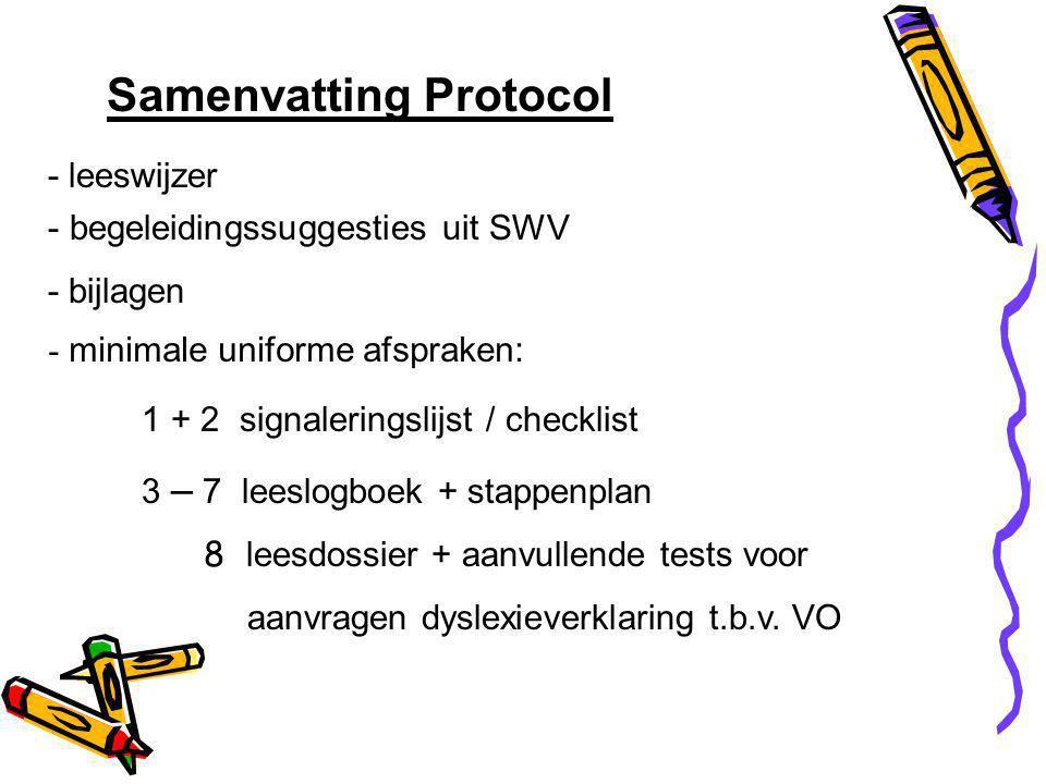 Samenvatting Protocol - leeswijzer - begeleidingssuggesties uit SWV - bijlagen - minimale uniforme afspraken: 1 + 2 signaleringslijst / checklist 3 – 7 leeslogboek + stappenplan 8 leesdossier + aanvullende tests voor aanvragen dyslexieverklaring t.b.v.