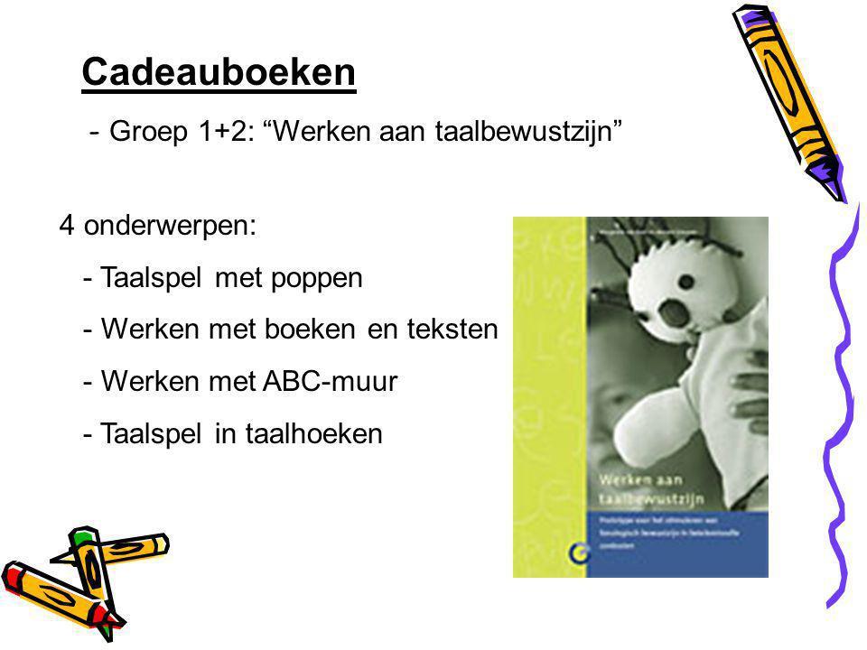 Cadeauboeken - Groep 1+2: Werken aan taalbewustzijn 4 onderwerpen: - Taalspel met poppen - Werken met boeken en teksten - Werken met ABC-muur - Taalspel in taalhoeken