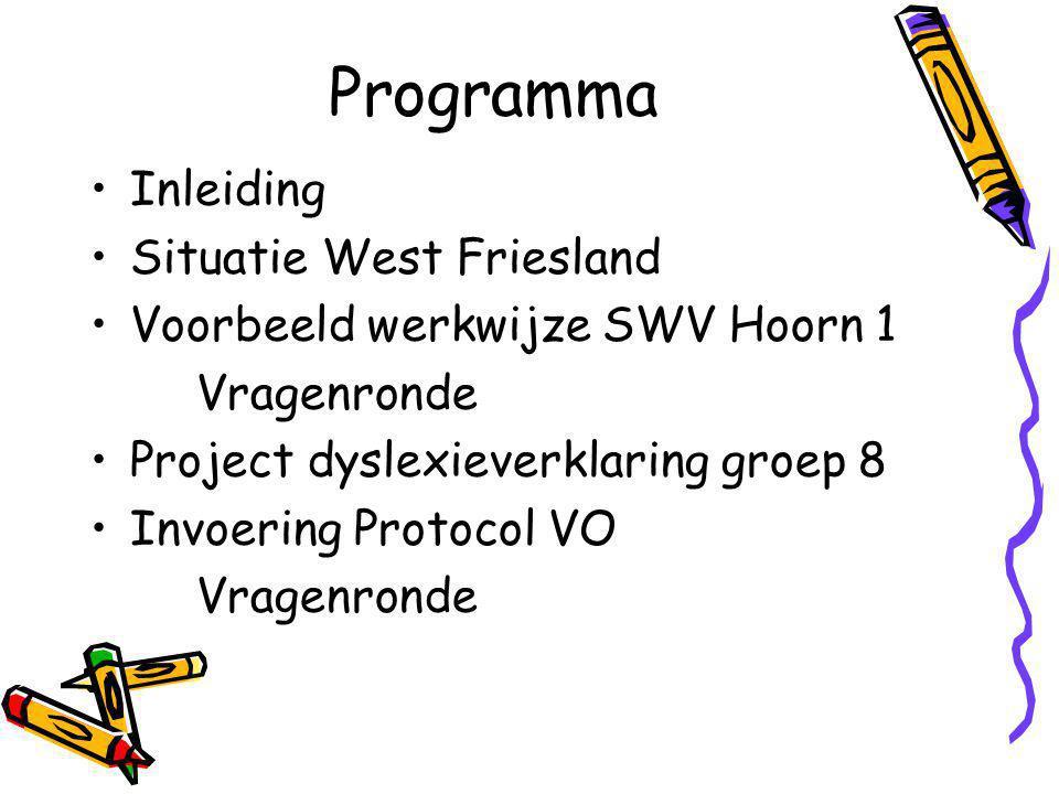 Programma Inleiding Situatie West Friesland Voorbeeld werkwijze SWV Hoorn 1 Vragenronde Project dyslexieverklaring groep 8 Invoering Protocol VO Vragenronde