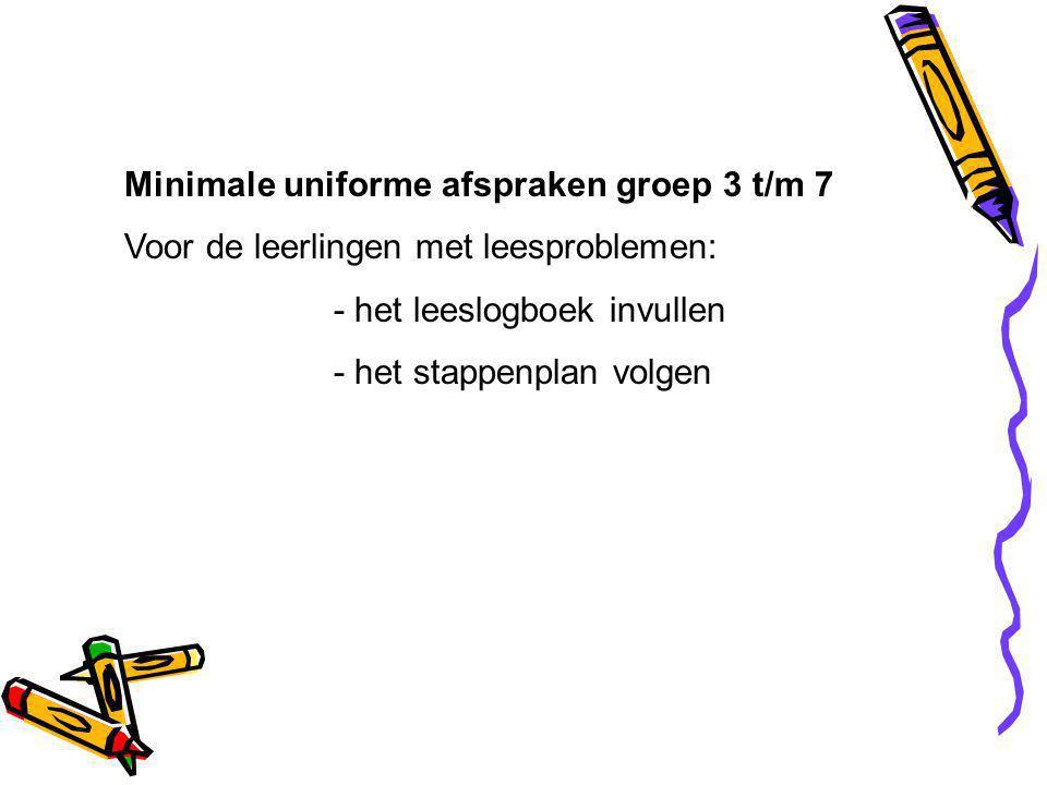 Minimale uniforme afspraken groep 3 t/m 7 Voor de leerlingen met leesproblemen: - het leeslogboek invullen - het stappenplan volgen