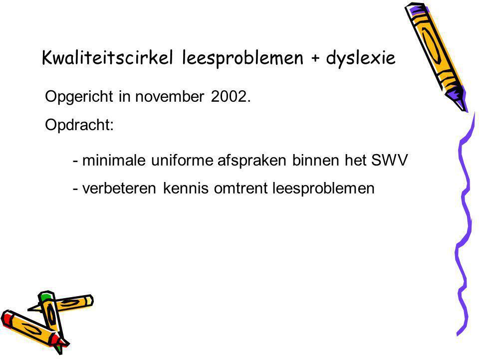 Kwaliteitscirkel leesproblemen + dyslexie Opgericht in november 2002.