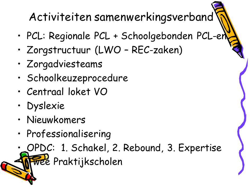 Activiteiten samenwerkingsverband PCL: Regionale PCL + Schoolgebonden PCL-en Zorgstructuur (LWO – REC-zaken) Zorgadviesteams Schoolkeuzeprocedure Cent