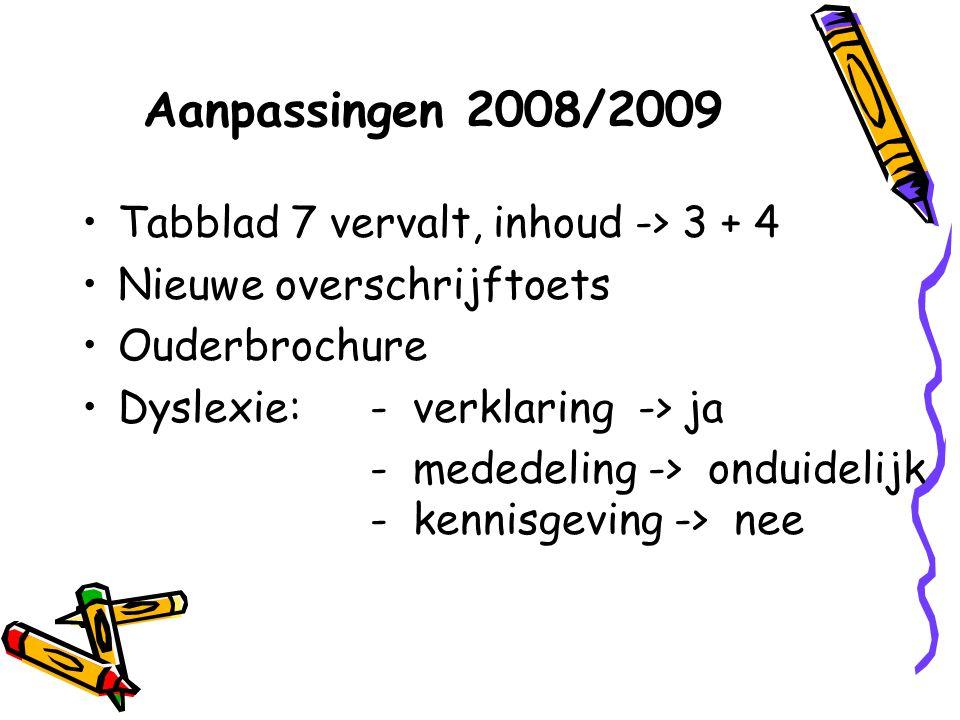 Aanpassingen 2008/2009 Tabblad 7 vervalt, inhoud -> 3 + 4 Nieuwe overschrijftoets Ouderbrochure Dyslexie: - verklaring -> ja - mededeling -> onduideli