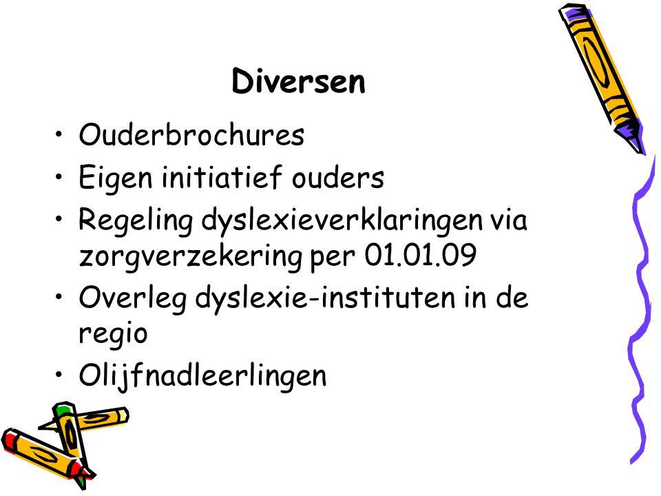 Diversen Ouderbrochures Eigen initiatief ouders Regeling dyslexieverklaringen via zorgverzekering per 01.01.09 Overleg dyslexie-instituten in de regio