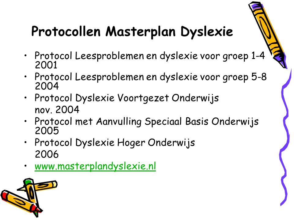 Protocollen Masterplan Dyslexie Protocol Leesproblemen en dyslexie voor groep 1-4 2001 Protocol Leesproblemen en dyslexie voor groep 5-8 2004 Protocol