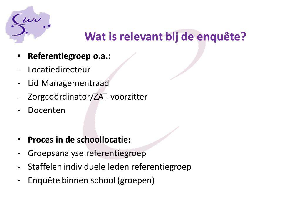 Wat is relevant bij de enquête? Referentiegroep o.a.: -Locatiedirecteur -Lid Managementraad -Zorgcoördinator/ZAT-voorzitter -Docenten Proces in de sch