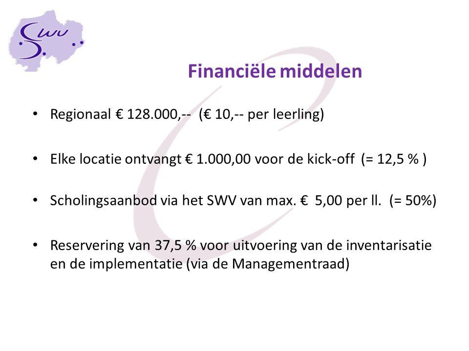 Financiële middelen Regionaal € 128.000,-- (€ 10,-- per leerling) Elke locatie ontvangt € 1.000,00 voor de kick-off (= 12,5 % ) Scholingsaanbod via het SWV van max.