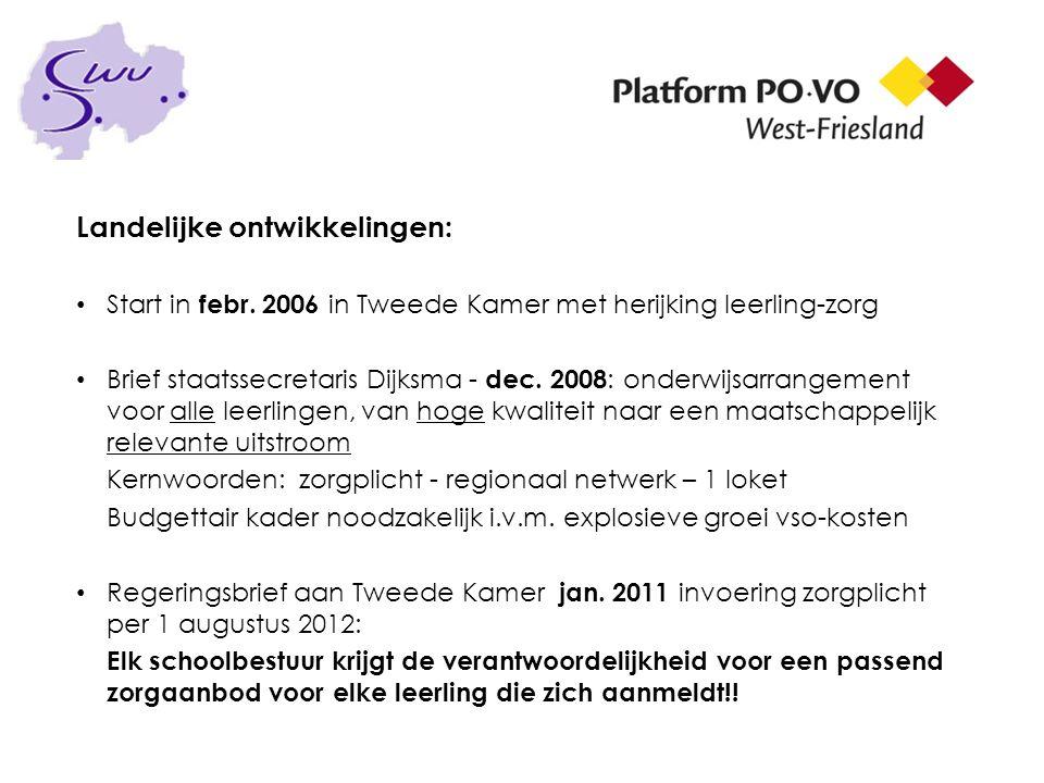 Historie ontwikkeling West-Friesland Platform PO-VO West-Friesland start rond 1999/2000 Agenda voor de Toekomst - 10 maart 2005 Veldinitiatief bijeenkomsten 16.05.06, 26.05,06 en 26.06.06 Startconferentie Passend Onderwijs 26 april 2007- uitkomst: - Versterken basiszorg in scholen - Professionaliseren speciale zorg - Voortbestaan bestaande zorgstructuren en voorzieningen Onderzoeksvraag vastgesteld school besturen 6 oktober 2008 Startsubsidie 2009 toegekend voor PO+VO in W-F van € 50.000,-- Opbrengst Werkconferentie 30.03.09 regio W-F: Missie +visie!