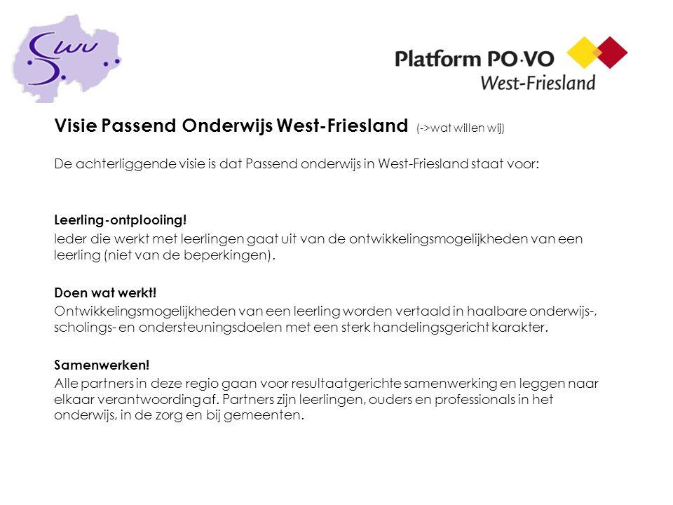 Visie Passend Onderwijs West-Friesland (->wat willen wij) De achterliggende visie is dat Passend onderwijs in West-Friesland staat voor: Leerling-ontp